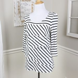 WHBM Striped Tiered 3/4 Sleeve Shirt